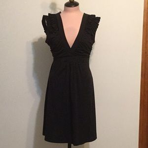 XOXO Black Tie Back Dress with Ruffled Shoulders